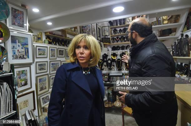 French President's wife Brigitte Macron visits the town of Sidi Bou Said near Tunis on February 1 2018 / AFP PHOTO / FETHI BELAID
