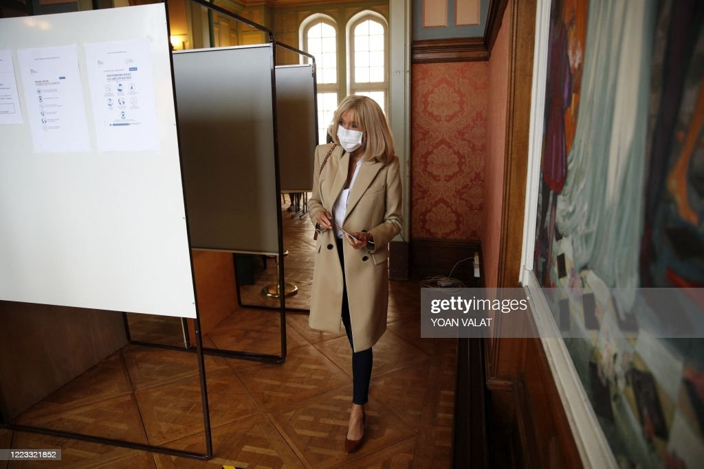 French President S Wife Brigitte Macron Wearing A Face Mask Arrives News Photo Getty Images