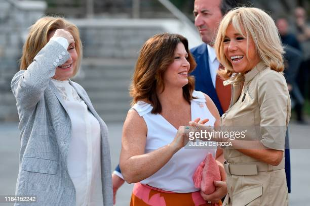French President's wife Brigitte Macron welcomes Australia's Prime Minister's wife Jenny Morrison and Chile's First Lady Cecilia Morel upon their...
