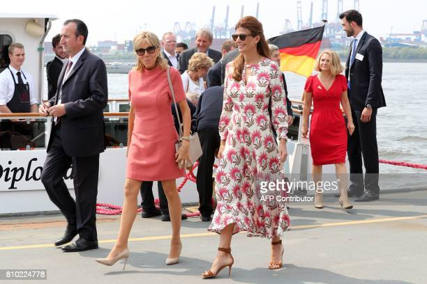French President's wife Brigitte Macron wife of the Argentinia's President Juliana Awada leave and wife of Australia's Prime Minister Lucy Turnbull...