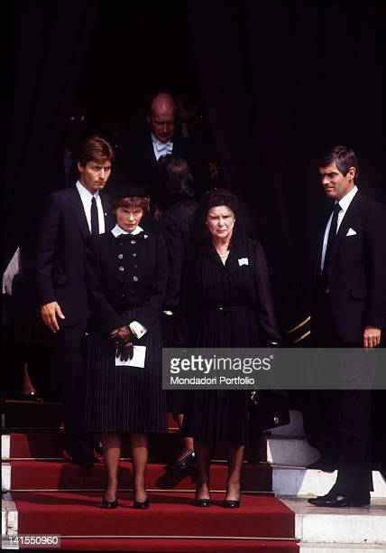 French President's wife Danielle Mitterrand participating at the princess and American actress Grace Kelly's funeral Monaco 19th September 1982