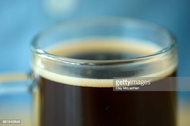 French press coffee in glass, Oakland, California, USA