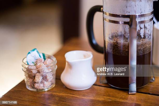 french press coffee - sugar coffee stock photos and pictures