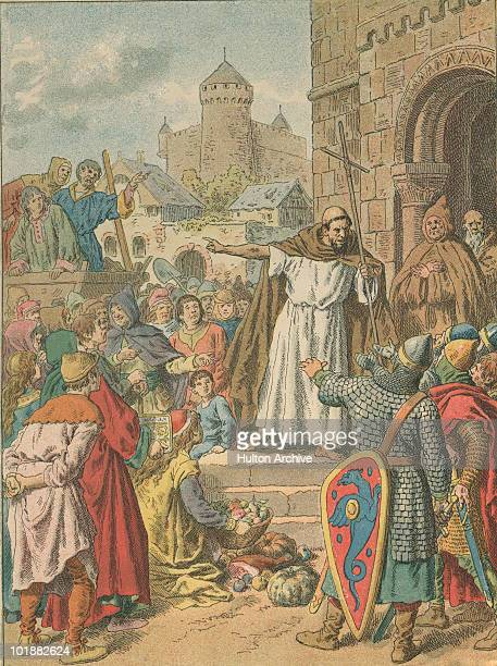 French priest Peter the Hermit incites people to join the crusades in the Holy Land circa 1096 An engraving by F Lix
