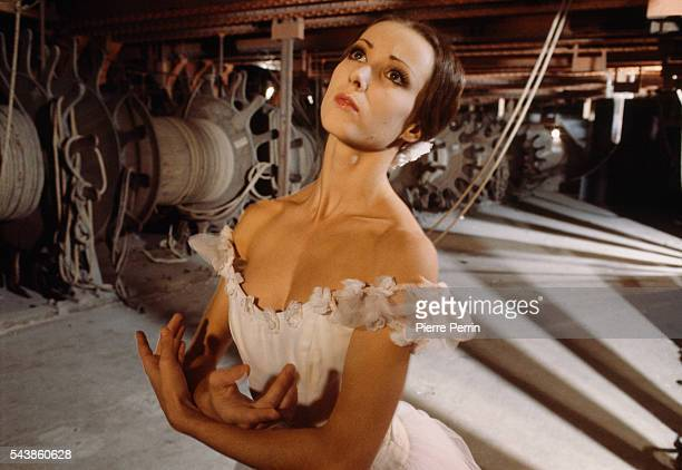 French prima ballerina Sylvie Guillem rehearses at the Paris Opera