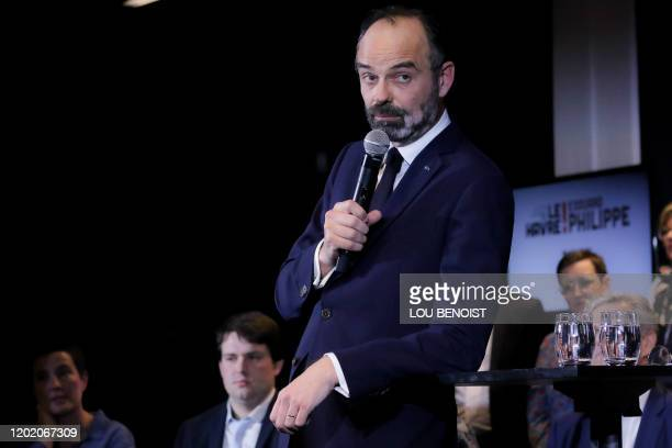 French Prime Minister and candidate for the upcoming mayoral election in Le Havre Edouard Philippe speaks as he announces his municipal list on...