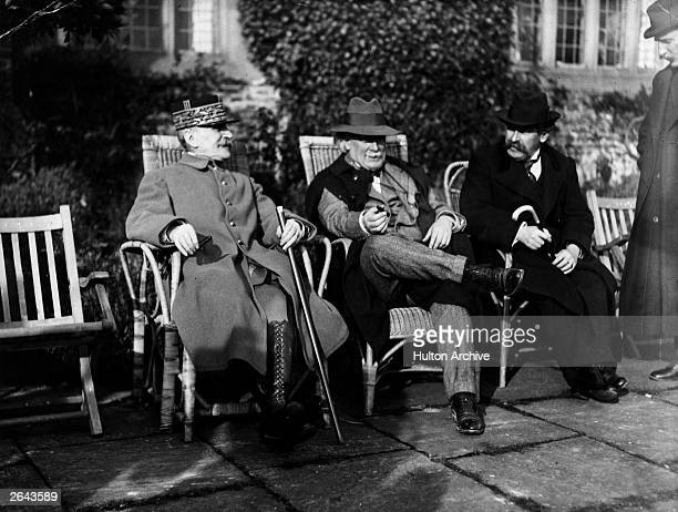 French Prime Minister Aristide Briand, British Prime Minister Lloyd George and Marshall Foch at Chequers.