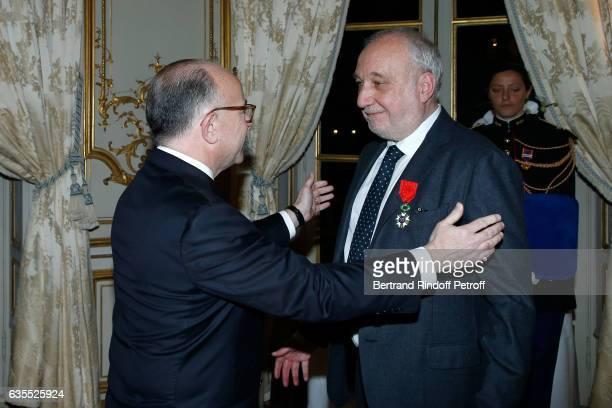 French Prime Minister Bernard Cazeneuve and Francois Berleand attend Francois Berleand is elevated to the rank of 'Officier de la Legion d'Honneur'...