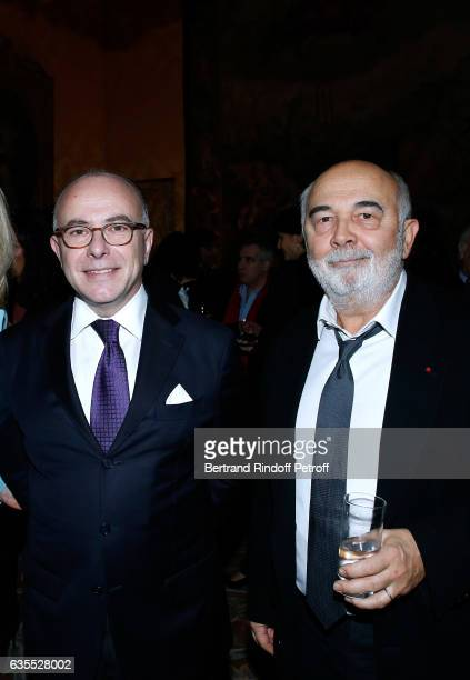 French Prime Minister Bernard Cazeneuve and Gerard Jugnot attend Francois Berleand is elevated to the rank of 'Officier de la Legion d'Honneur' at...
