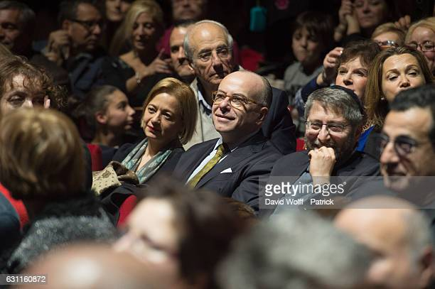 French Prime Minister Bernard Cazeneuve and great Rabbi of France Haim Korsia attend to Enrico Macias Show at L'Olympia on January 7 2017 in Paris...