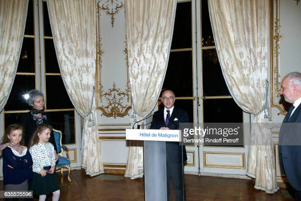 French Prime Minister Bernard Cazeneuve Francois Berleand his companion Alexia Stresi their twins daughters Lucie and Adele attend Francois Berleand...