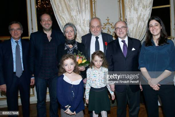 French Prime Minister Bernard Cazeneuve Francois Berleand his companion Alexia Stresi their twins daughters Lucie and Adele Francois's son Martin...
