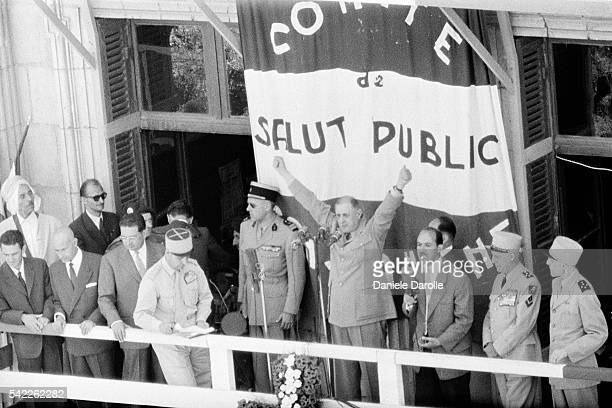 French Prime Minister Charles de Gaulle delivers a speech during his first official visit to Algeria