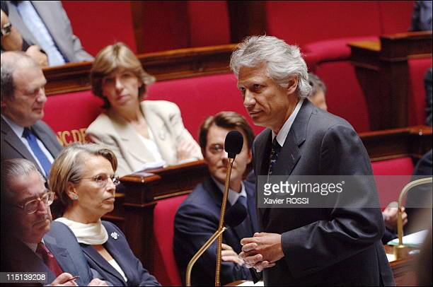 French Prime Minister delivers a speech during the parliamentary questions session at the National Assembly in Paris France on June 21 2006 French...