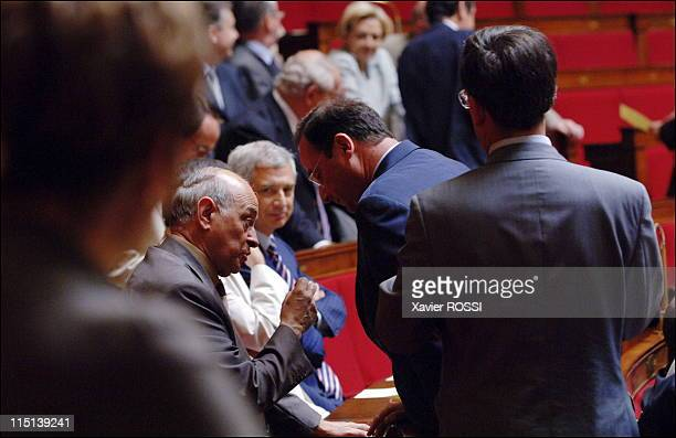 French Prime Minister delivers a speech during the parliamentary questions session at the National Assembly in Paris France on June 21 2006 Leader of...