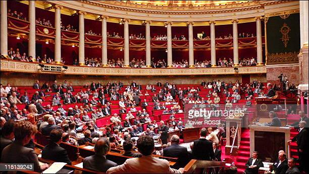 French Prime Minister delivers a speech during the parliamentary questions session at the National Assembly in Paris France on June 21 2006