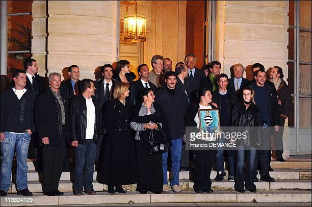 French Prime Minister Dominique De Villepin And French Minister Of Justice Pascal Clement Received 13 People Wrongfully Convicted Of Participating In...
