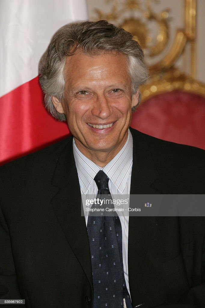 French Prime Minister Dominique de Villepin during a meeting with HRH Juan Carlos of Spain at Matignon during his state visit.