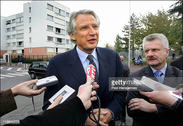 French Prime minister Dominique de Villepin in Paris northern suburb of AulnaysousBois during a visit following the urban violences these past days...