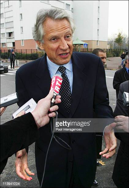 French Prime minister Dominique de Villepin in Paris northern suburb of Aulnay-sous-Bois, during a visit following the urban violences these past...
