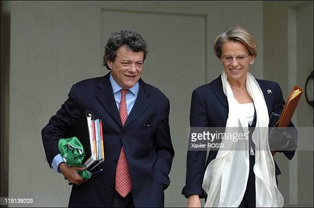 French Prime Minister Dominique de Villepin leaves the weekly cabinet meeting at the Elysee Palace in Paris France on June 21 2006 Minister for...