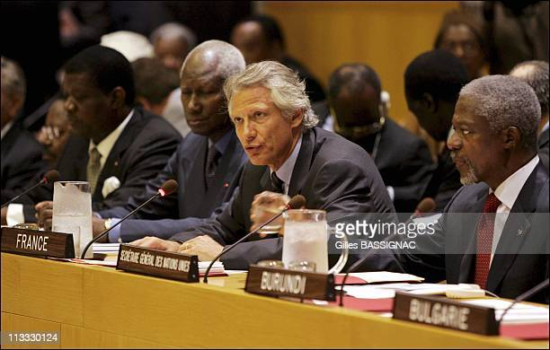 French Prime Minister Dominique De Villepin Represents France At The 60Th Anniversary Of The United Nations Creation On September 15Th 2005 In New...