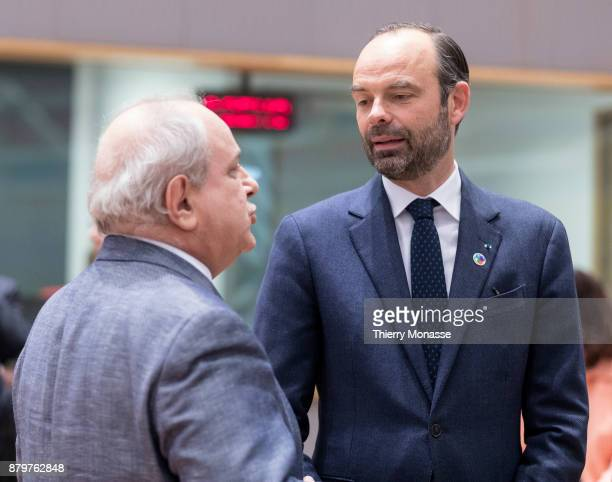 French Prime Minister Édouard Philippe Front is talking with the Italian Deputy Minister of Foreign Affairs and International Cooperation Mario Giro...