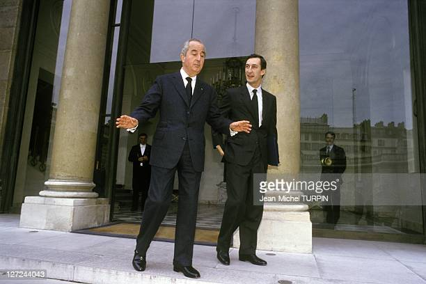 French Prime Minister Edouard Balladur receives National Order of Merit from President Francois Mitterrand here with his Principal Private Secretary...