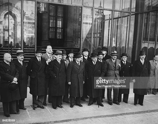French Prime Minister Edouard Daladier with members of the newlyformed cabinet for his Third Ministry 10th April 1938 Left to right Minister of...