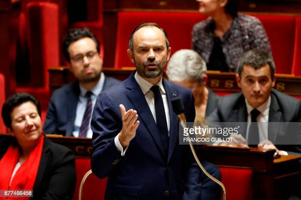 French Prime Minister Edouard Philippe addresses a session of questions to the government at the National Assembly in Paris on November 22 2017 / AFP...