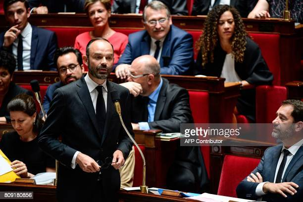 French Prime Minister Edouard Philippe addresses deputies during a session of questions to the Government at the French National Assembly in Paris on...
