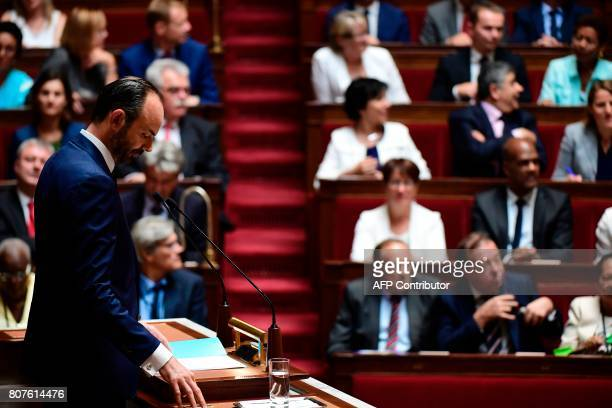 French Prime Minister Edouard Philippe addresses his general policy speech before the National Assembly on July 4 2017 in Paris / AFP PHOTO / Martin...