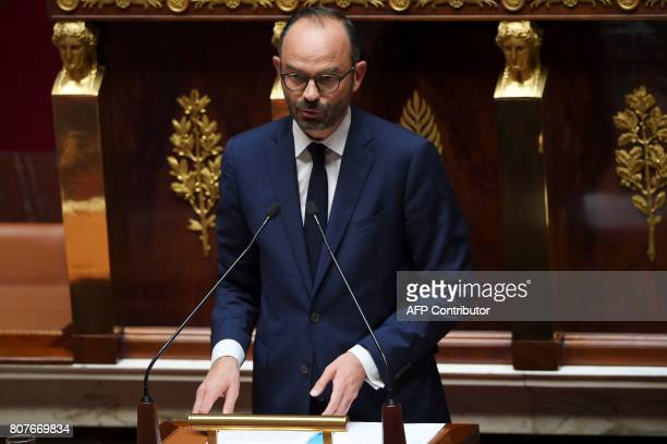 French Prime Minister Edouard Philippe addresses his general policy speech before the National Assembly on July 4 2017 in Paris / AFP PHOTO /...