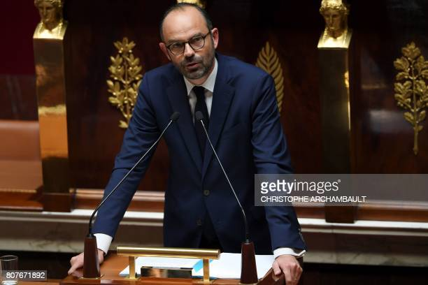 TOPSHOT French Prime Minister Edouard Philippe addresses his general policy speech before the National Assembly on July 4 2017 in Paris / AFP PHOTO /...