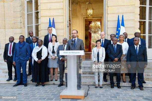 French Prime Minister Edouard Philippe addresses the press on April 19 2018 in the courtyard of the Hotel Matigon French Prime minister official...