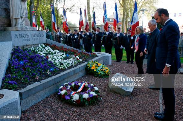 French Prime Minister Edouard Philippe and Australian Prime Minister Malcolm Turnbull pay their respects at the war memorial in VillersBretonneux...