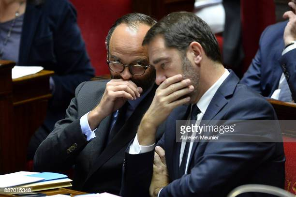 French Prime Minister Edouard Philippe and Christohe Castaner French Junior Minister to the Prime Minister in charge of the relationship between the...