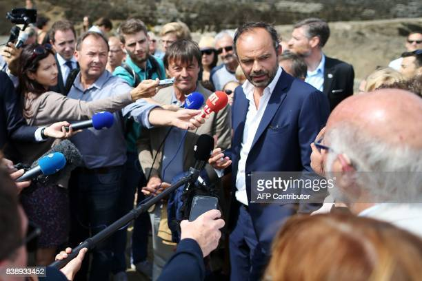 French Prime Minister Edouard Philippe and Ecology Minister Nicolas Hulot answer journalists' questions after a visit onboard the selfenergy...