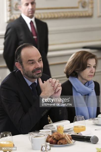 French Prime Minister Edouard Philippe and French Defence Minister Florence Parly attend a government's New Year breakfast meeting at the Interior...
