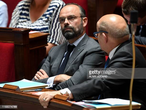 French Prime Minister Edouard Philippe and French Foreign Affairs Minister JeanYves Le Drian attend a session of questions to the government at the...