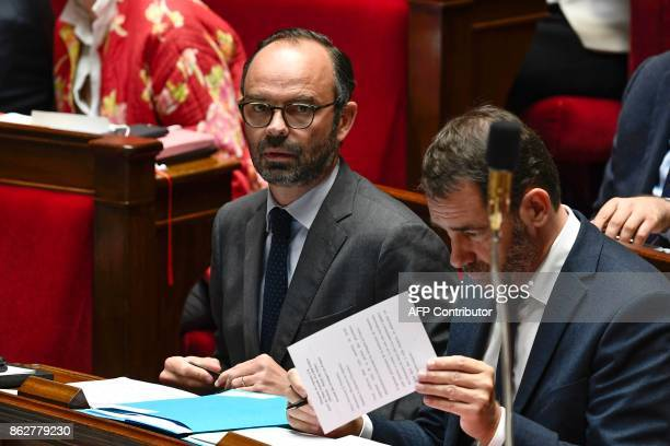 French Prime MInister Edouard Philippe and French Junior Minister for the Relations with Parliament and Government Spokesperson Christophe Castaner...