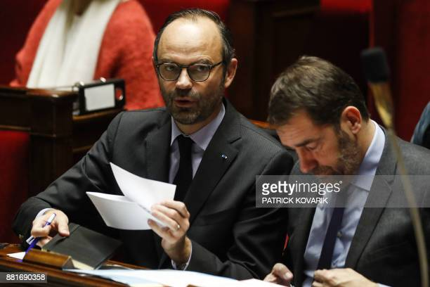 French Prime Minister Edouard Philippe and French Junior Minister for the Relations with Parliament Christophe Castaner attend a session of questions...