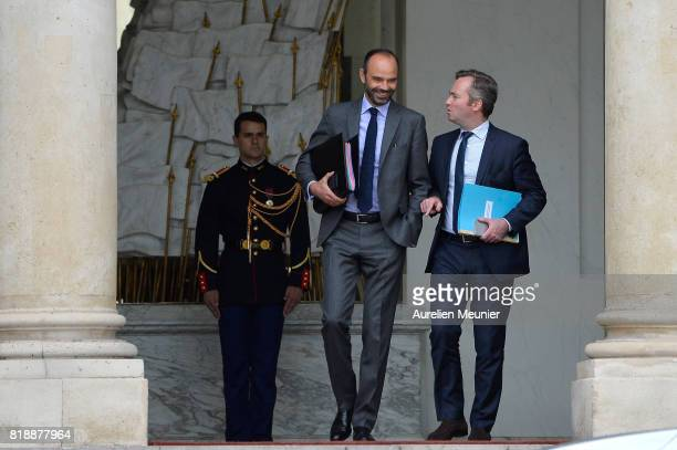 French Prime Minister Edouard Philippe and French Junior Minister in charge of European affairs JeanBaptiste Lemoyne leave the Elysee Palace after...