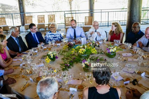 French Prime Minister Edouard Philippe and French Justice Minister Nicole Belloubet share a lunch with personalities of New Caledonia on December 5...