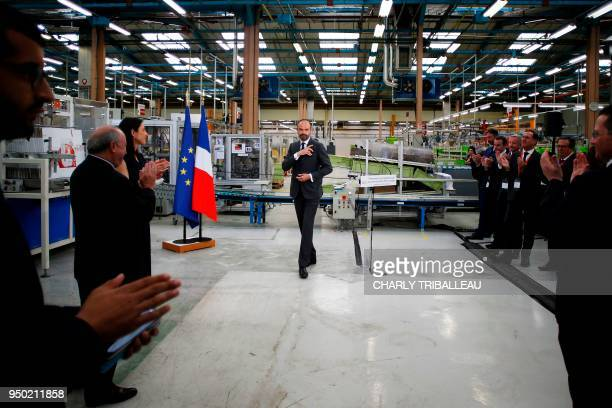 French Prime Minister Edouard Philippe and French Minister attached to the Minister of Ecological and Inclusive Transition Brune Poirson visit the...