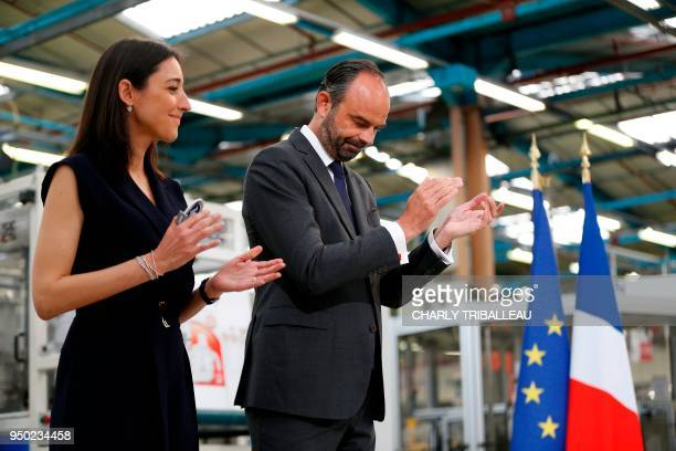 French Prime Minister Edouard Philippe and French Minister attached to the Minister of Ecological and Inclusive Transition Brune Poirson are pictured...