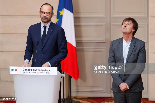 French Prime Minister Edouard Philippe and French Minister of the Ecological and Social Transition Nicolas Hulot announce the French government's...