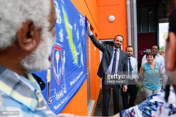 French Prime Minister Edouard Philippe and French Overseas Minister Annick Girardin take part in the inauguration ceremony of the KonePouembout...
