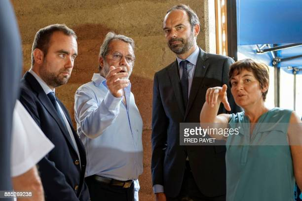 French Prime Minister Edouard Philippe and French Overseas Minister Annick Girardin visit an activity zone in the customary area of Kone a city in...
