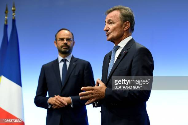 French Prime Minister Edouard Philippe and general director of Dassault System Bernard Charles give a press conference on the theme 'Digital...